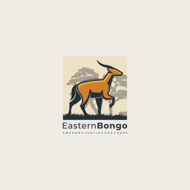 Vector Illustration Eastern Bongo Mascot Cartoon. Vector Illustration Eastern Bongo Mascot Cartoon. hoofed mammal stock illustrations