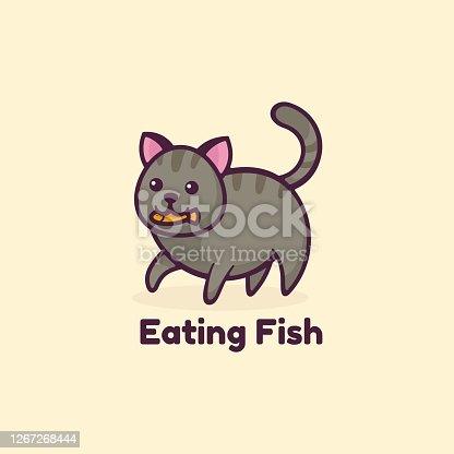 istock Vector Illustration Eating Fish Simple Mascot Style. 1267268444
