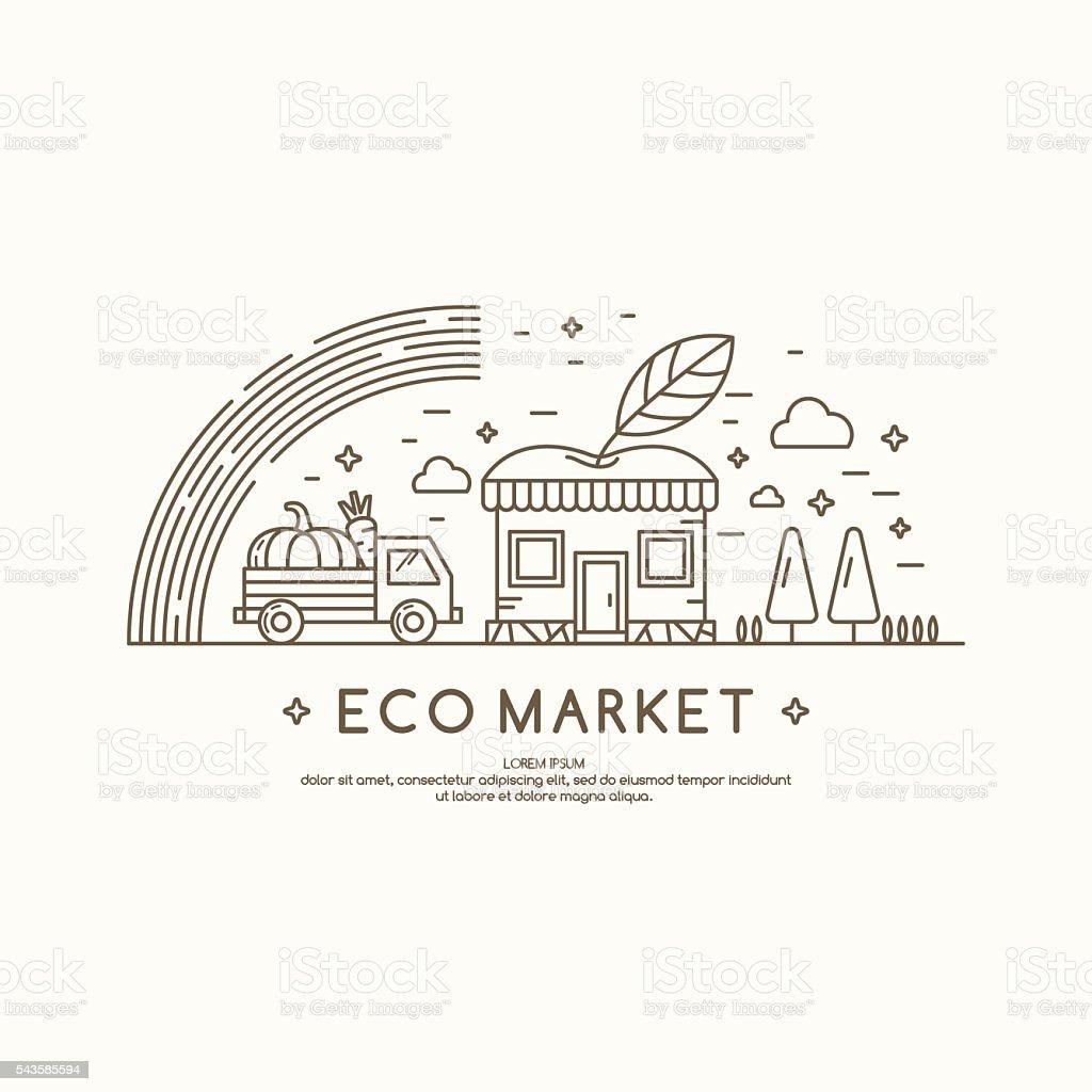 Ilustração em vetor eco mercado. - ilustração de arte em vetor
