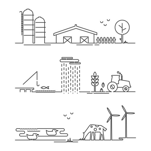 Vector Illustration Ökologie Bauernhof Infografik mit Ikonen dünne Linien Stil. – Vektorgrafik