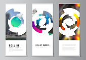 Vector illustration editable layout of roll up banner stands, vertical flyers, flags design business templates. Futuristic design circular pattern, circle elements forming geometric frame for photo.