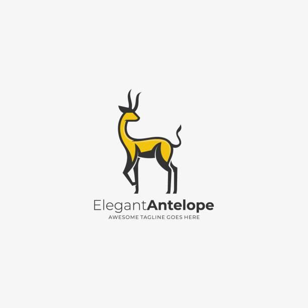 ilustraciones, imágenes clip art, dibujos animados e iconos de stock de ilustración vectorial elegante antílope mascográfico. - hueva