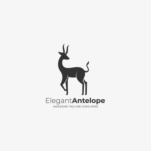 ilustraciones, imágenes clip art, dibujos animados e iconos de stock de ilustración vectorial elegante estilo de silueta de antílope. - hueva