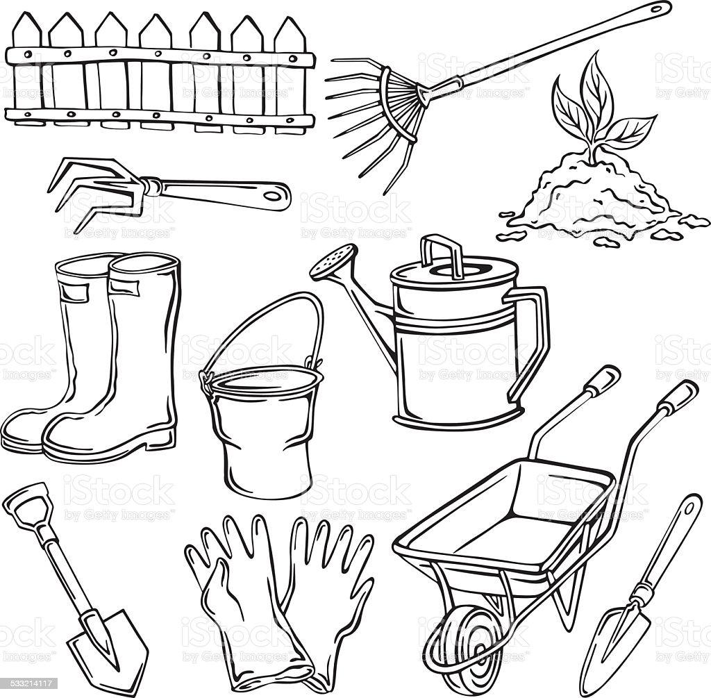 vector illustration elements of the garden vector art illustration