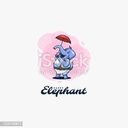 Vector Illustration Elephant Cute Cartoon Style.