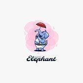istock Vector Illustration Elephant Cute Cartoon Style. 1225730872