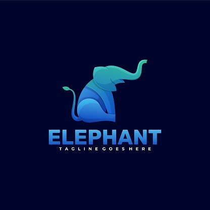 Vector Illustration Elephant Gradient Colorful Style.