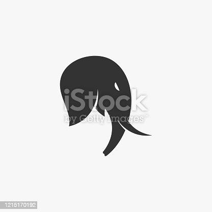 Vector Illustration Elephant Head Silhouette Style.