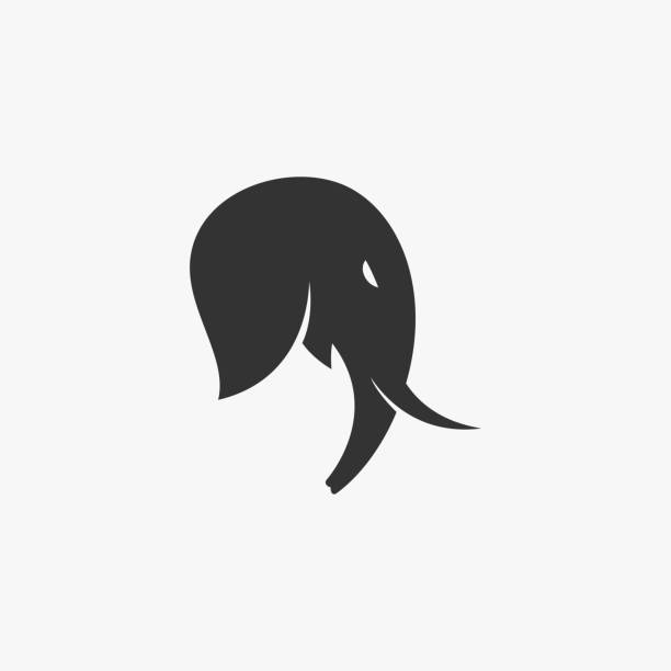 Vector Illustration Elephant Head Silhouette Style. Vector Illustration Elephant Head Silhouette Style. mammal stock illustrations