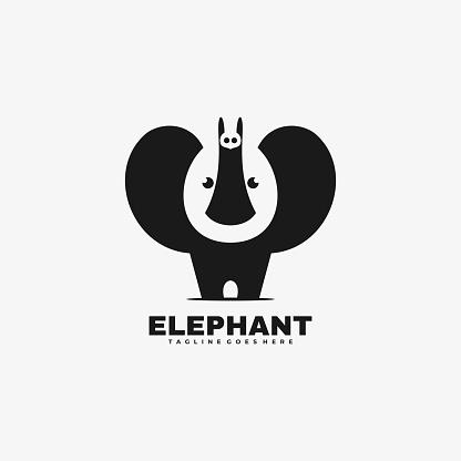 Vector Illustration Elephant Negative Space Style.