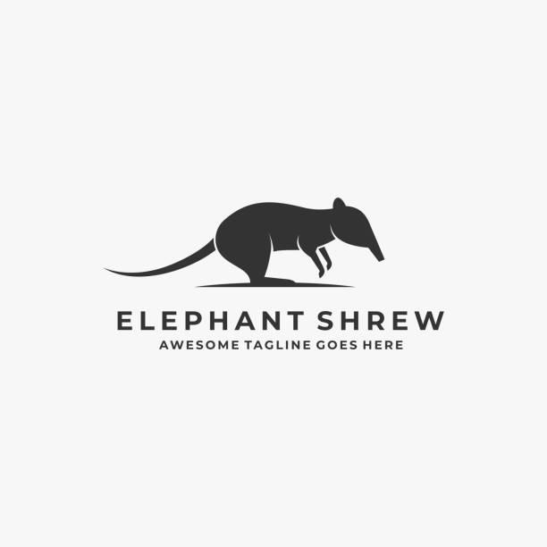 bildbanksillustrationer, clip art samt tecknat material och ikoner med vektor illustration elephant shrew hoppa silhuett. - abstract silhouette art