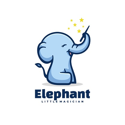 Vector Illustration Elephant Simple Mascot Style.