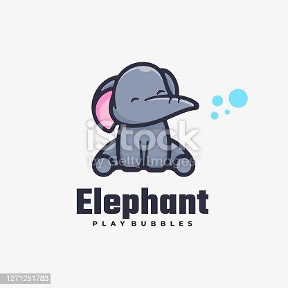 istock Vector Illustration Elephant Simple Mascot Style. 1271251783