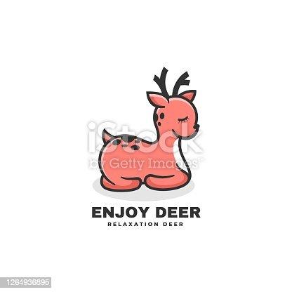 Vector Illustration Enjoy Deer Simple Mascot Style.