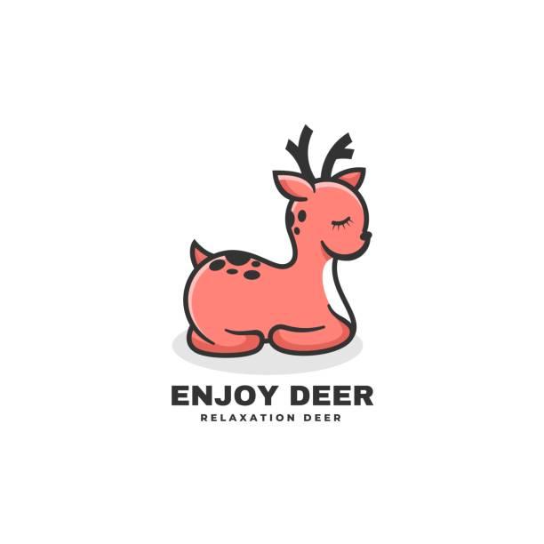 Vector Illustration Enjoy Deer Simple Mascot Style. Vector Illustration Enjoy Deer Simple Mascot Style. hoofed mammal stock illustrations