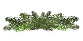 Vector illustration. Eps 10.A long garland of fir branches. Christmas decor of natural elements. Drawing. Isolated. New Year.