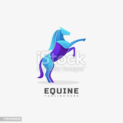 istock Vector Illustration Equine Gradient Colorful Style. 1280989956