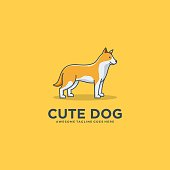 Vector Illustration Eskimo Dog Pose Cute Cartoon.