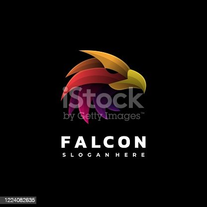 istock Vector Illustration Falcon Gradient Colorful Style. 1224082635