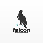 Vector Illustration Falcon pose Silhouette Style.