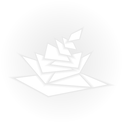 Vector illustration. Falling flying white paper petals.