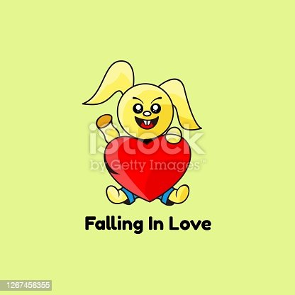 Vector Illustration Falling in Love Simple Mascot Style.