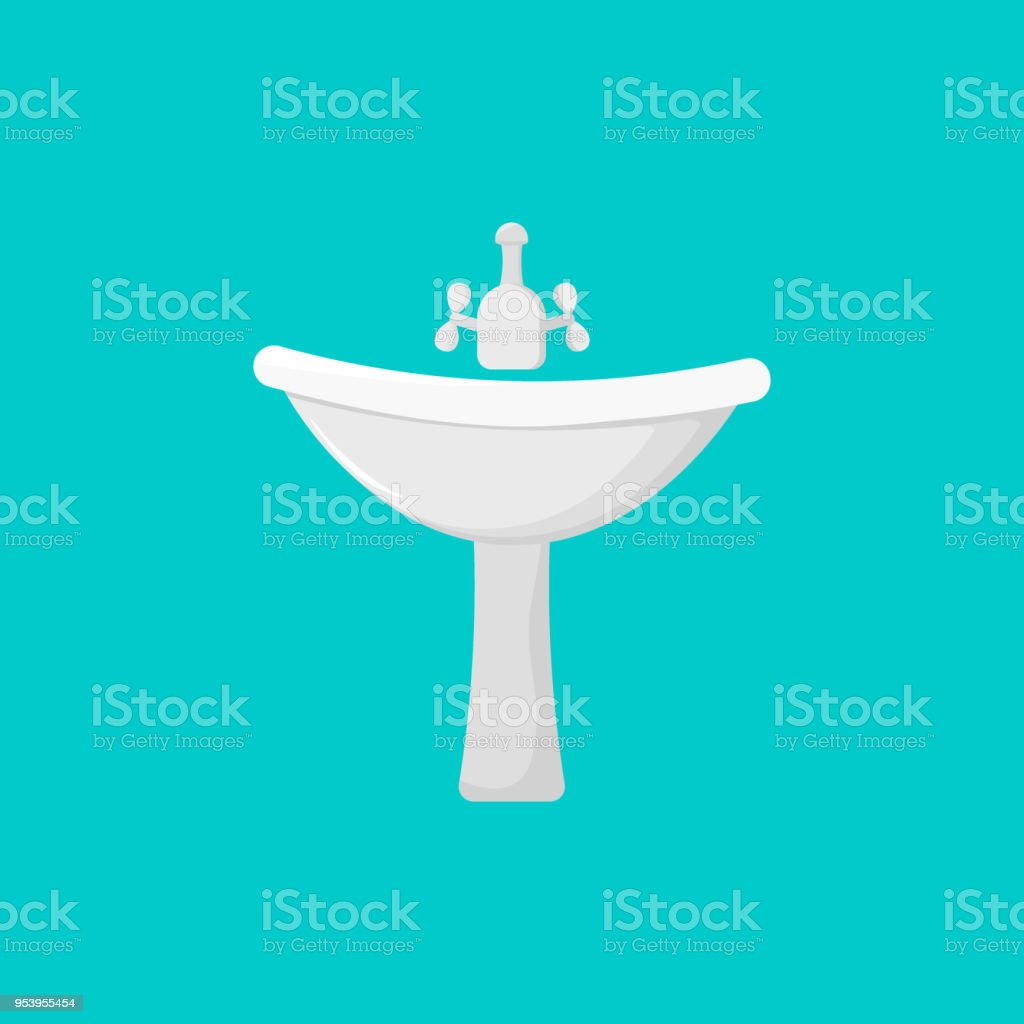 Vector Illustration Faucet For Bathroom Or Kitchen Cartoon Tap Icon ...