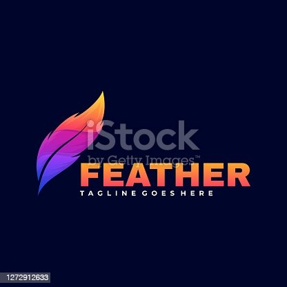 istock Vector Illustration Feather Gradient Colorful Style. 1272912633