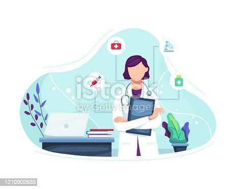 istock Vector illustration Female doctor portrait 1210902633