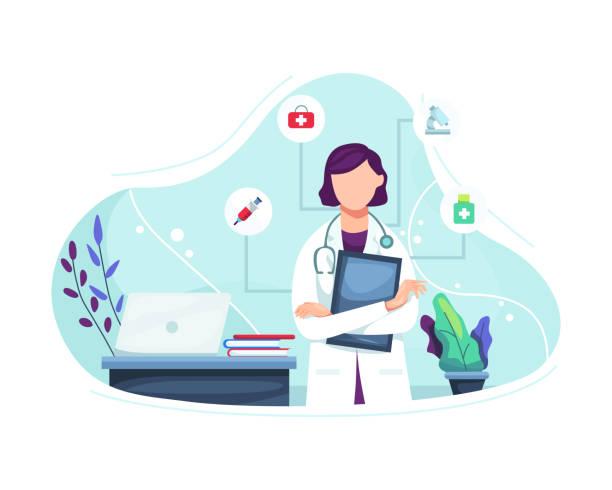 벡터 삽화 여성 의사 초상화 - doctor stock illustrations