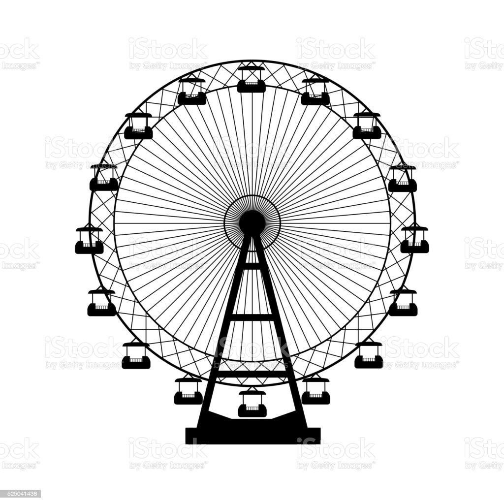 Vector Illustration Ferris Wheel Carnival Funfair Background Stock ...