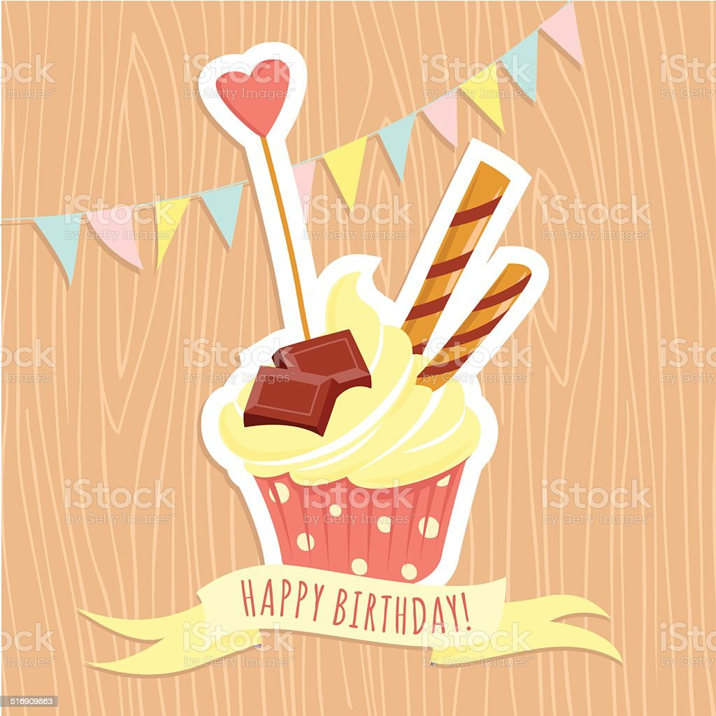 Vector illustration Festive birthday cake on wooden background. vector art illustration
