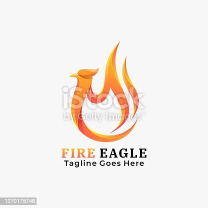 istock Vector Illustration Fire Eagle Gradient Colorful Style. 1270175746
