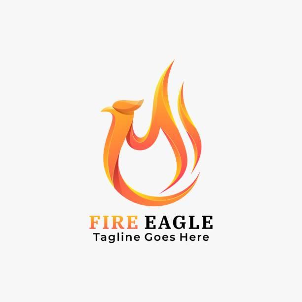 Vector Illustration Fire Eagle Gradient Colorful Style. Vector Illustration Fire Eagle Gradient Colorful Style. carnivorous stock illustrations