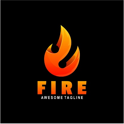 Vector Illustration Fire Gradient Colorful Style.