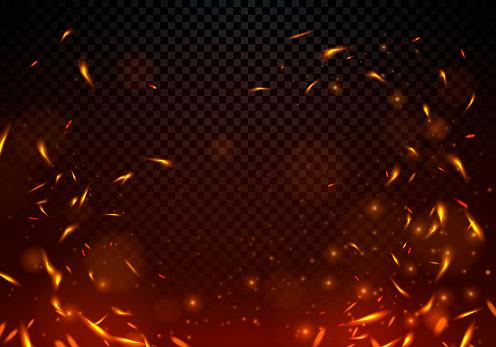 Vector Illustration Fire Sparks On Transparent Background.