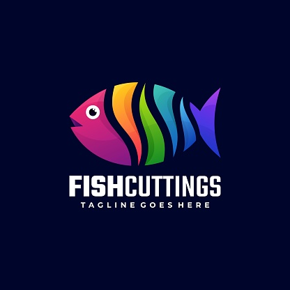 Vector Illustration Fish Cutting Gradient Colorful Style.