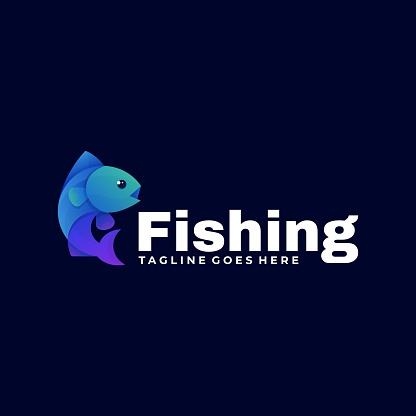 Vector Illustration Fishing Gradient Colorful Style.