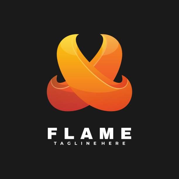 Vector Illustration Flame Gradient Colorful Style. Vector Illustration Flame Gradient Colorful Style. adventure borders stock illustrations