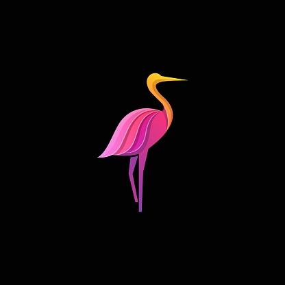 Vector Illustration Flamingo Gradient Colorful Style.