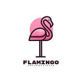 istock Vector Illustration Flamingo Gradient Colorful Style. 1283798857