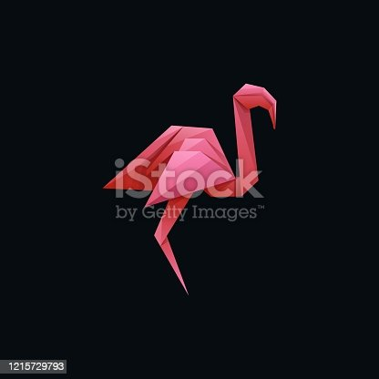 Vector Illustration Flamingo Poly Colorful Style.