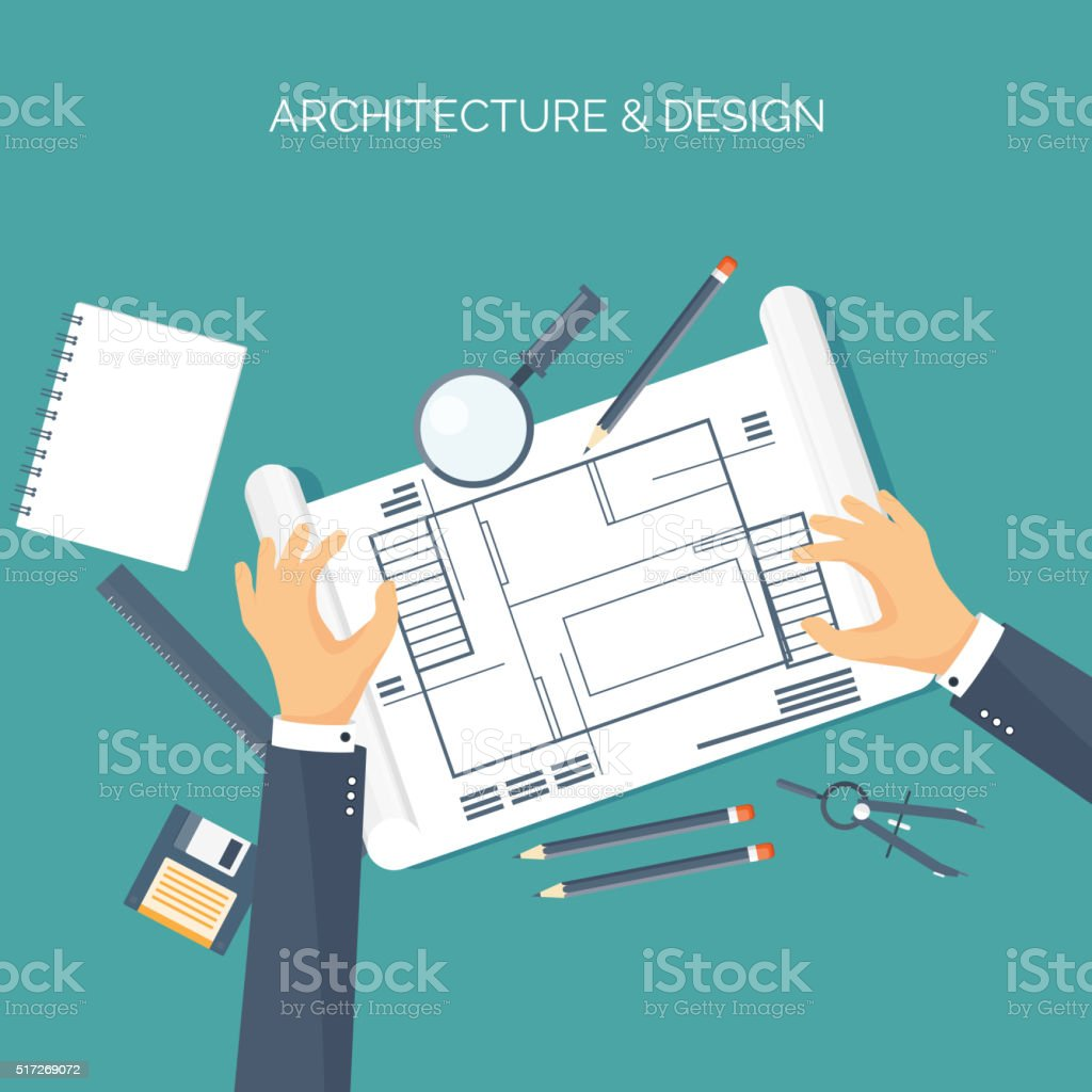 Vector illustration flat architectural project teamwork building vector illustration flat architectural project teamwork building planning construction pencil malvernweather Gallery