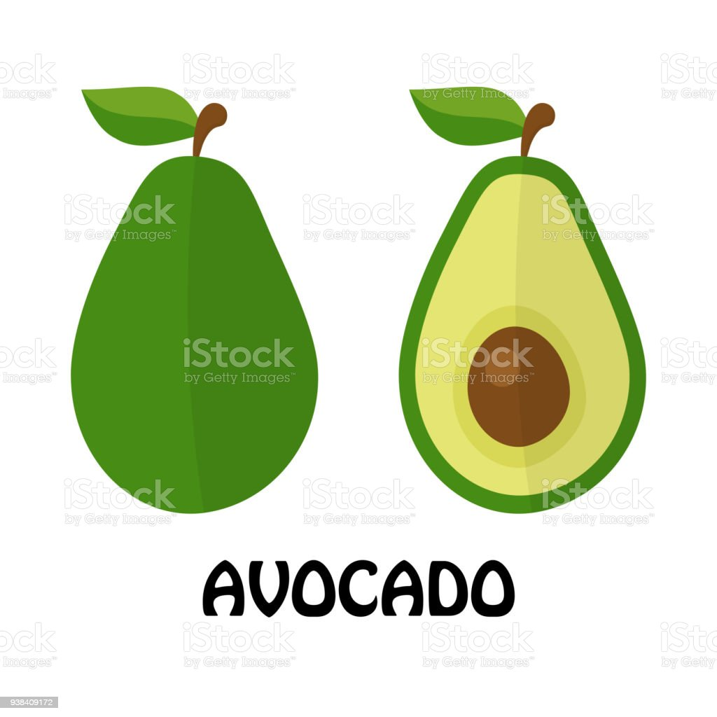 Vector Illustration Flat Avocado isolated on white background , minimal style , Raw materials fresh fruit vector art illustration