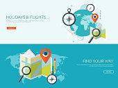 Vector illustration. Flat background. Navigation ,traveling.  Map pointer ,location finding