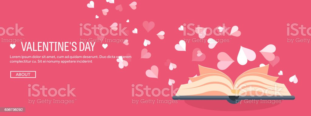 Vector illustration. Flat background with book. Love, hearts. Valentines day vector art illustration