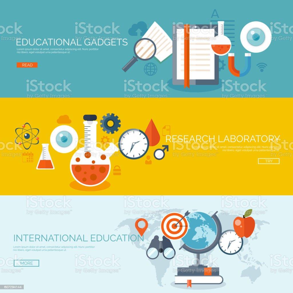 Vector Illustration Flat Backgrounds Set Distance Educationlearning Online  Courses Stock Illustration - Download Image Now