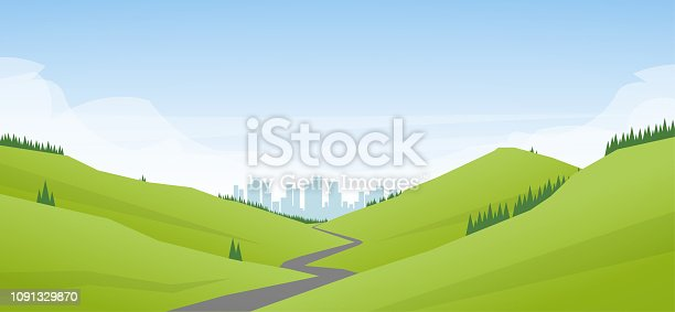 Flat cartoon Landscape with road leading through the hills to the city or metropolis.