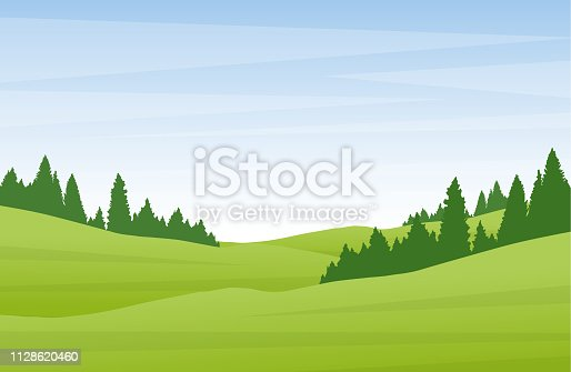 Flat cartoon summer landscape with green hills and pine forest.