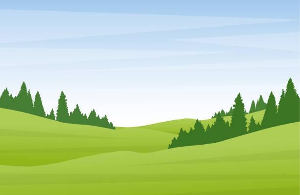 bildbanksillustrationer, clip art samt tecknat material och ikoner med vektor illustration: platt tecknade sommarlandskap med gröna kullar och tallskog. - naturparksområde